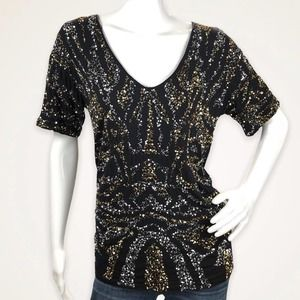 GRYPHON Short Sleeve Top GOLD SILVER SEQUINS Small